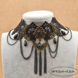 Black Lace, chains & beads Choker Necklace